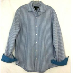 Banana Republic Blue White Plaid Flip Cuff Shirt M